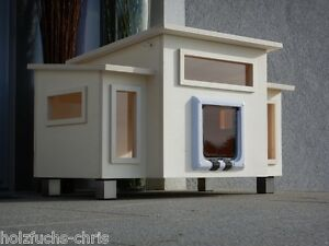 katzenhaus holz xl f r au en oder innen katzenh hle katzenklappe hundeh tte ebay. Black Bedroom Furniture Sets. Home Design Ideas