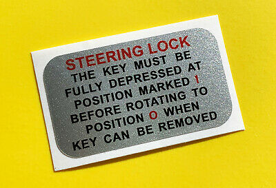 MGB Vintage retro silver early STEERING LOCK sticker decal gloss laminated