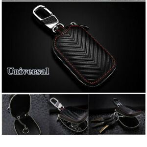 Black-Leather-Car-Key-Cover-Holder-Key-Fob-Case-Shell-Bag-Universal-For-Cars-SUV