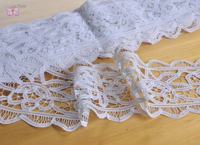 chic handmade white cotton battenburg lace trim diy curtain 17x93cm