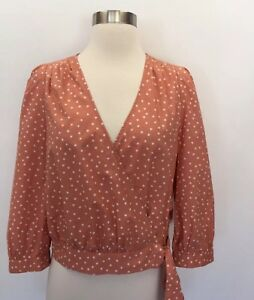 f226aeea21385 Madewell Wrap Top in Star Scatter Coral Orange Size Small S G7804
