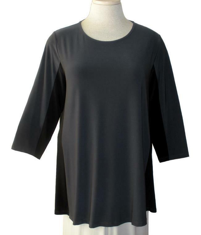 SUN KIM by COMFY USA Ash w schwarz Side Panels 3 4 Sleeve MISHA Tunic XL NWT