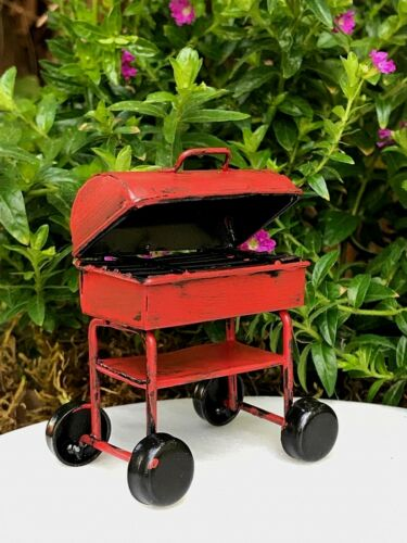 Miniature Dollhouse FAIRY GARDEN ~ Mini Red Metal Rustic Barbecue BBQ Grill NEW