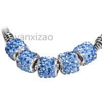 5p Gorgeous Czech Crystal Round Bead fit 925s European Charm Bracelet Chain k925