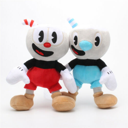 "10/"" Cuphead Game Cuphead Mugman Plush Doll Mecup And Brocup Figure Kid Toy Gifts"