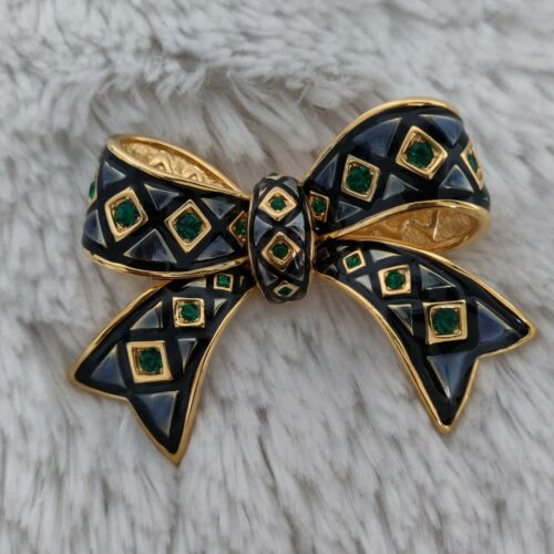 Vintage Joan Rivers Enamel & Rhinestone Bow Pin