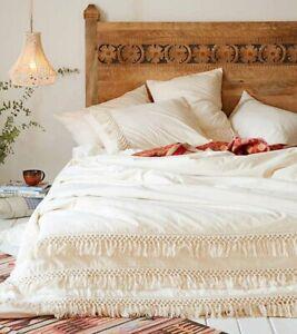 White-organic-cotton-Fringes-duvet-cover-tassel-duvet-cover-cotton-quilt-cover