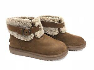 7a11336ef93 Details about UGG Australia JOCELIN Shearling Buckle Espresso Brown Ankle  Boots 1003187 ~