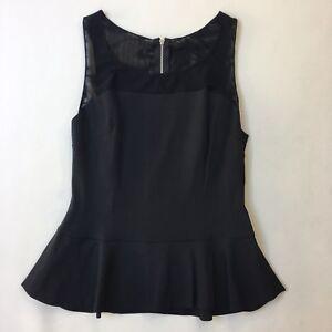mistä ostaa Kuponkikoodi hyvä laatu Details about Guess by Marciano Black Illusion Mesh Peplum Top, Sleeveless,  Size S