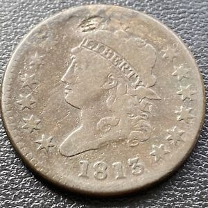 1813 Large Cent Classic Head One Cent 1c Better Grade F - VF Details  #28974