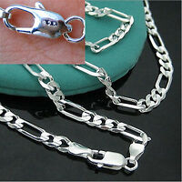 925 Sterling Silver Plated NEW Fashion 4MM Chain Men Figaro Necklace 16-30 Inch