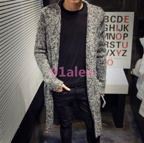 para punto Abrigos Suéteres Con hombre Loose Chaqueta Knit largos Tops New Fall capucha coreanos Outwear de EB5wq1