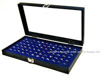 Wholesale Lot Of 12 Glass Top Lid 72 Ring Blue Jewelry Display Box Storage Cases