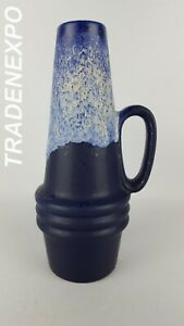 1970s-Vintage-SCHEURICH-KERAMIK-Vase-Blue-400-22-West-German-Pottery-Fat-Lava