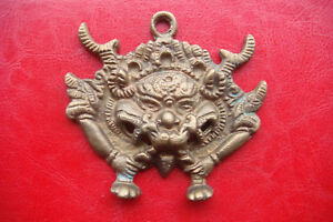 Rare-Old-Dragon-Mask-Tibetan-Buddhist-Bronze-Handcrafted-large-Nepal-Pendant