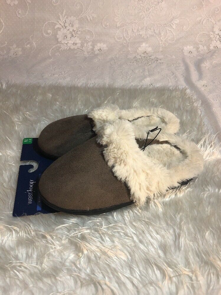 West Loop Women's Slippers Faux Fur  Size Medium (7/8) Brown  (1)a