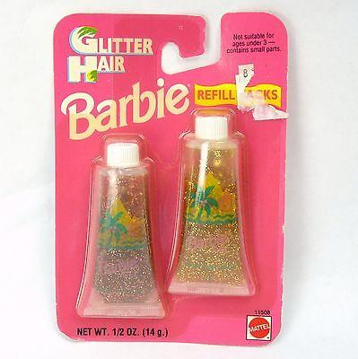 Vintage 1993 Barbie Glitter Hair Gel Refill Packs 90s NEW MOC Gold Pink