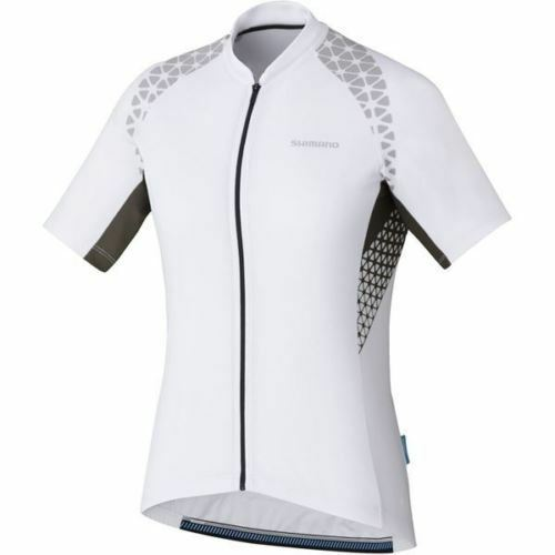 Shimano Women's, Escape Print Short Sleeve Jersey, White, Med