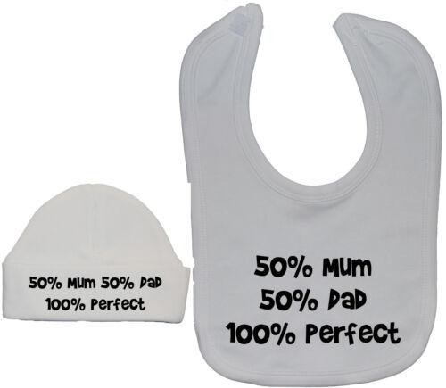 50/% Mum 50/% Dad...Baby Feeding Bib /& Hat//Cap Set Newborn-12m Boy Girl Acce Gift