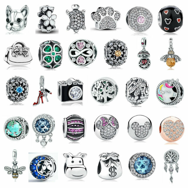 European sterling Silver CZ Charm Beads Fits S925 Charm Bracelet & Chain Women