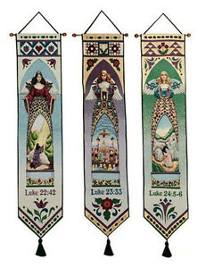 Jim Shore Easter Angels Tapestry Wall Hanging Bellpull Set ~ Set/3