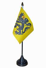 "FLANDERS TABLE FLAG desktop flags 6"" x 4"" with 10"" pole Belgium Belgian"