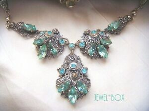 ANTIQUE-ART-DECO-BOHEMIAN-CZECH-Filigree-AQUA-CRYSTAL-DROP-Vintage-NECKLACE