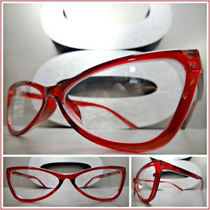 Women's Accessories CONTEMPORARY MODERN CAT EYE Style Clear Lens EYE GLASSES Unique Classy Red Frame Sunglasses & Sunglasses Accessories