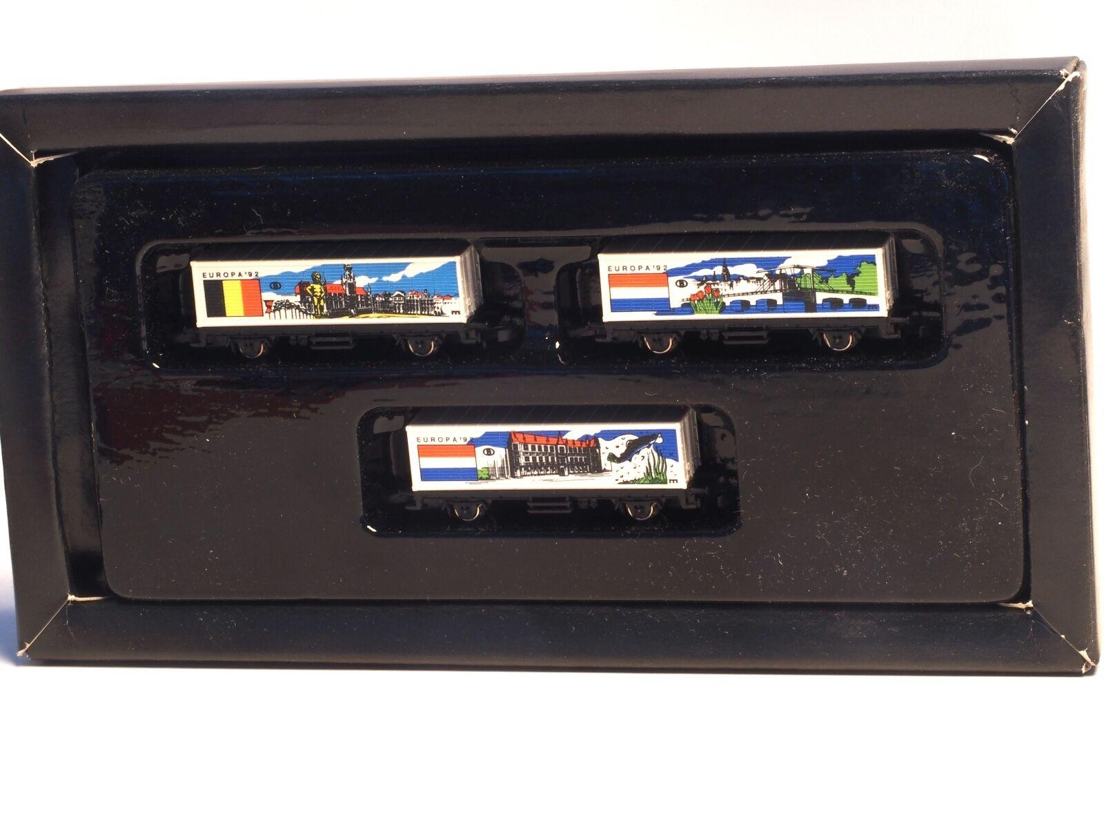 Serie a Marklin Z-Scale Europa '92 3 Car Contenitore Set, Belgio, Lussemburgo