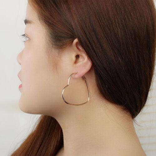Trendy Lady Hollow Heart Shaped Hoop Dangle Earrings Jewelry New LE