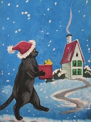 1.5x2 DOLLHOUSE MINIATURE PRINT OF PAINTING RYTA 1:12 SCALE HALLOWEEN SNOW RAVEN