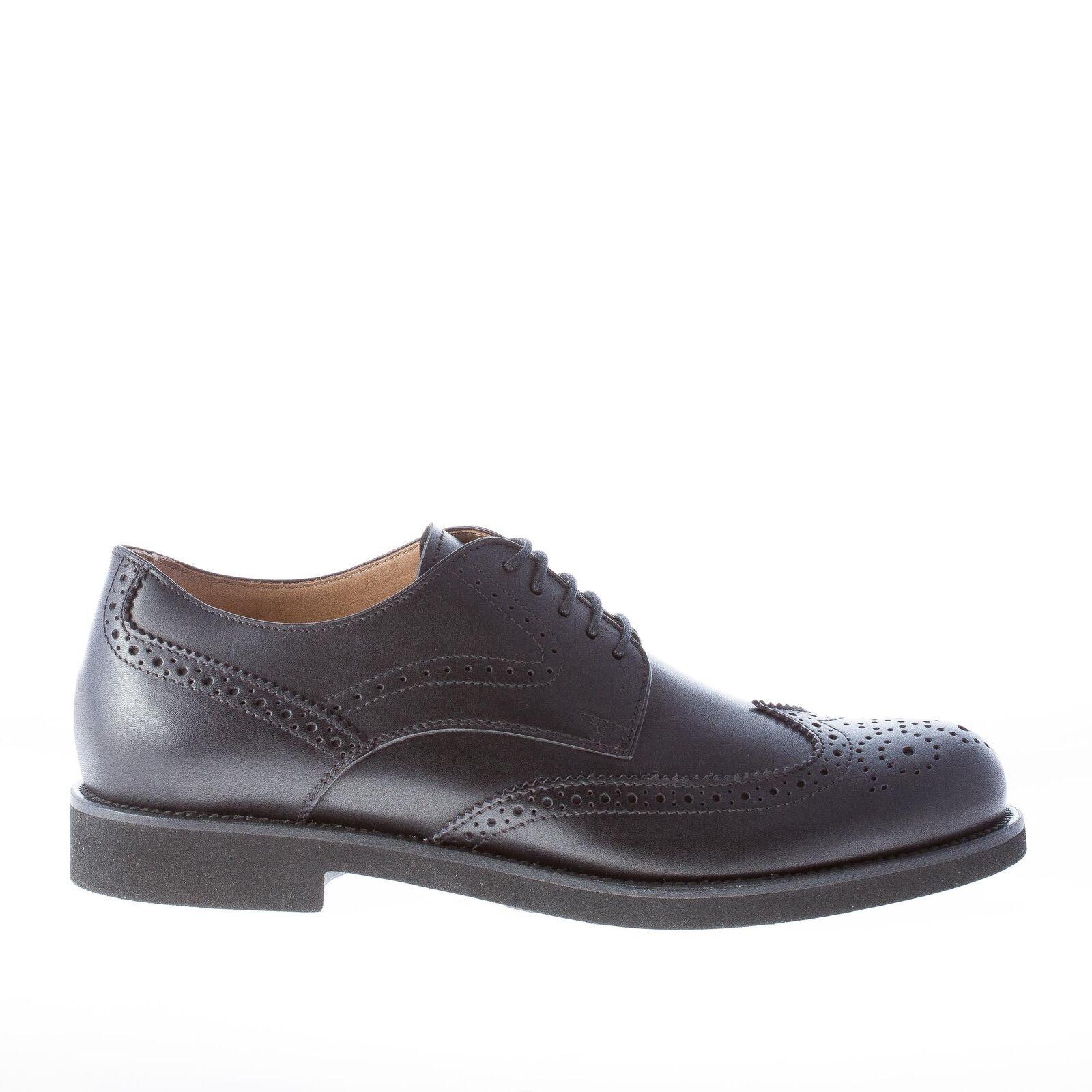 TOD'S scarpe uomo Uomo shoes derby in pelle nero con impunture wingtip brogue