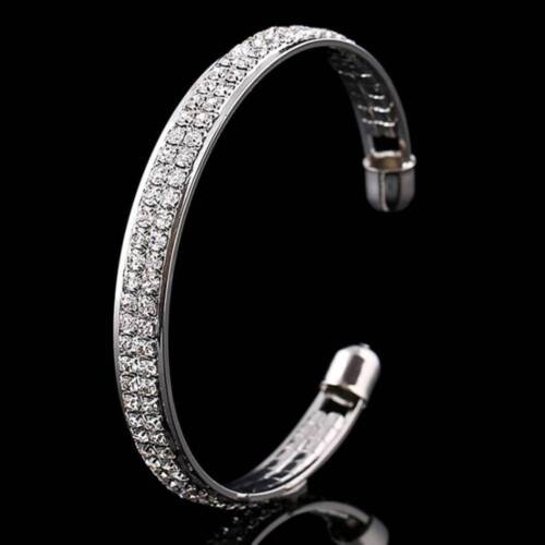 Open Bangle Bling Cristal Strass Fashion Femmes Filles Cadeau blanc Cubic Zircon