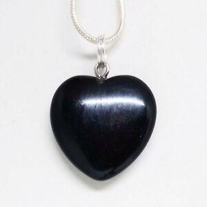 Black Obsidian Small Heart Necklace Crystal Heart Pendant