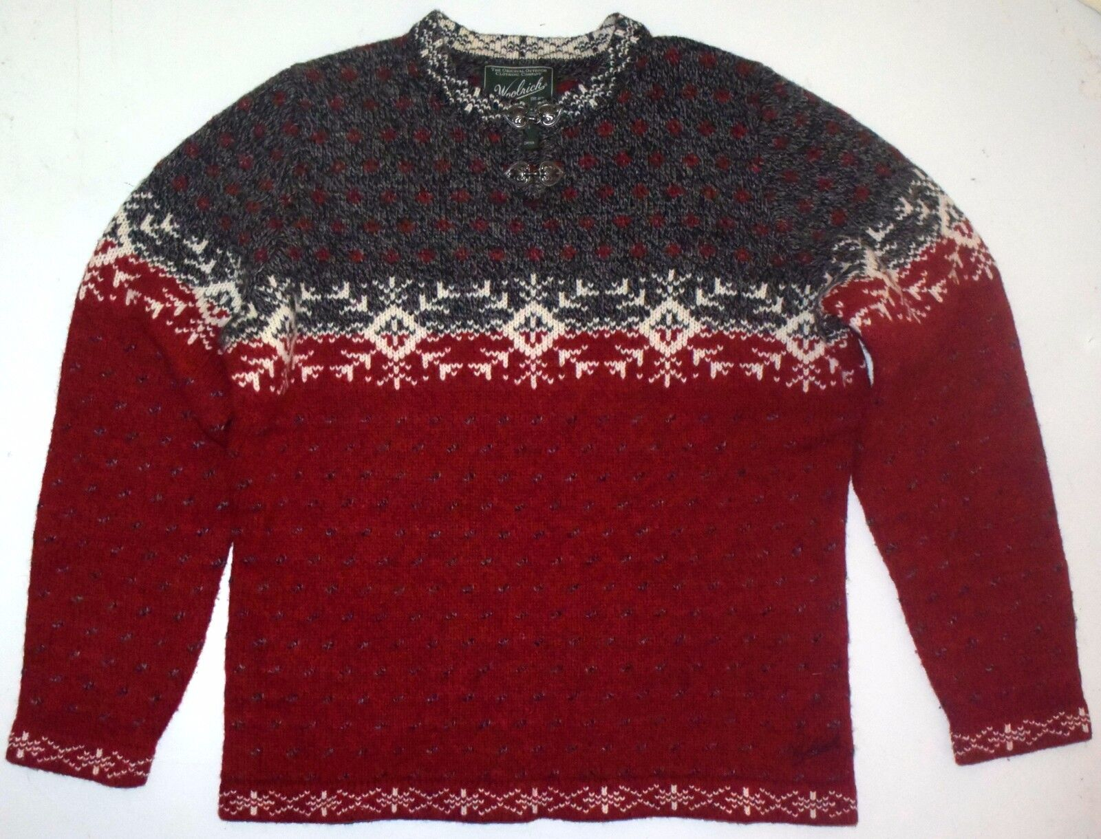 Womens L Petite PL Woolrich Lamb's Wool Nylon Pewter Clasp Sweater 9656 Ruby