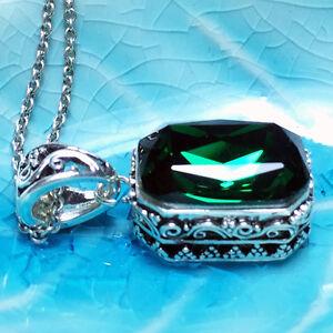 Antique-Vintage-Green-Emerald-Pendant-Chain-Necklace-14k-White-Gold-WRE34