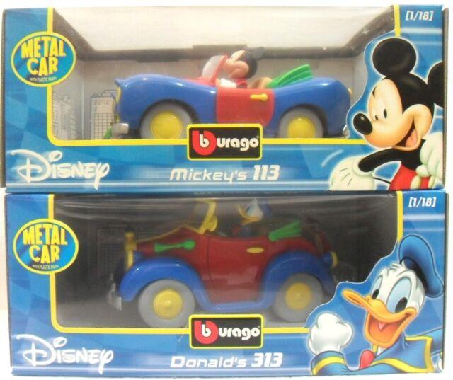 Disney BURAGO Italia 1/18 Mickey's 113 + Donald's 313 TOPOLINO e PAPERINO