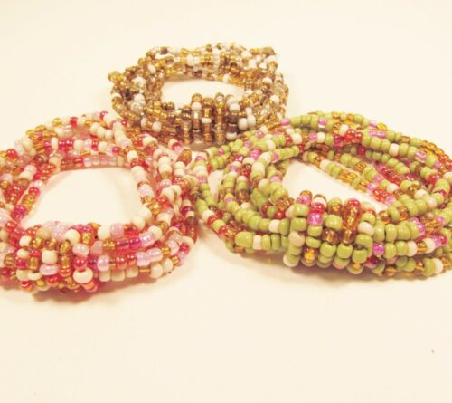 Set of 3 Multi Color Handmade Beaded Stretch Seed Bead Bracelets FREE SHIPPING!!