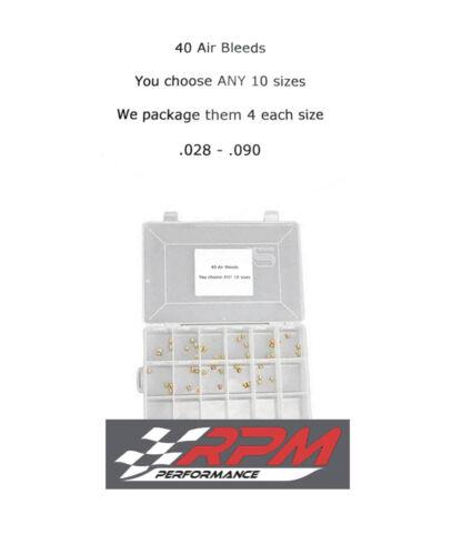 Holley Carburetor 10-32 AIR BLEED Assortment Kit YOU CHOOSE 28-90 4EACH 40 PACK