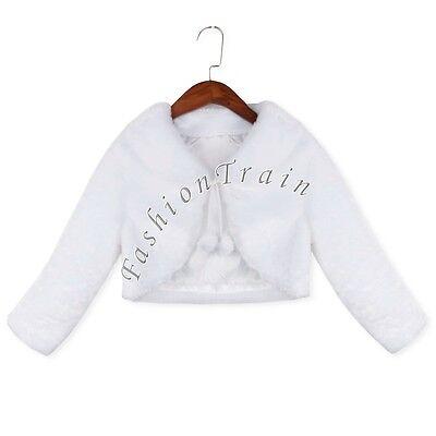 Warm Winter Shawl Bridal Baby Girls Kid Jacket Wrap Faux Fur Shrug Bolero Coat