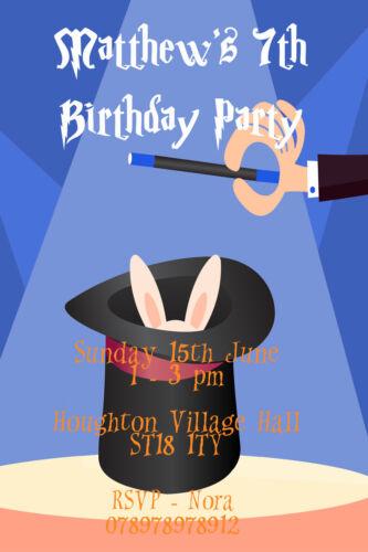 Personalised Blue Boy Magician Magic Hat Birthday Party Invites inc envelopes M6