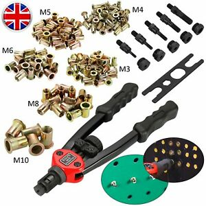 Professional-Hand-Rivet-Nut-Tool-Riveter-Gun-150pc-Mandrels-M3-M10-Repair-Kit-UK