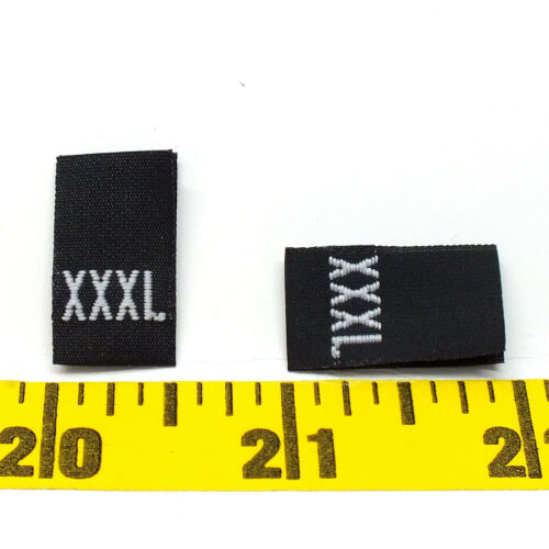 1000 or 500 WOVEN GARMENT SEWING SIZE XXXL LABELS Black w White Letter Ship@US