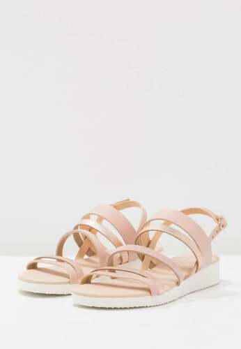 3 Kiomi Sandals 36 Nude Brand Uk Eu Womens Slingback New Heel Wedge Low Leather qqfrEFB
