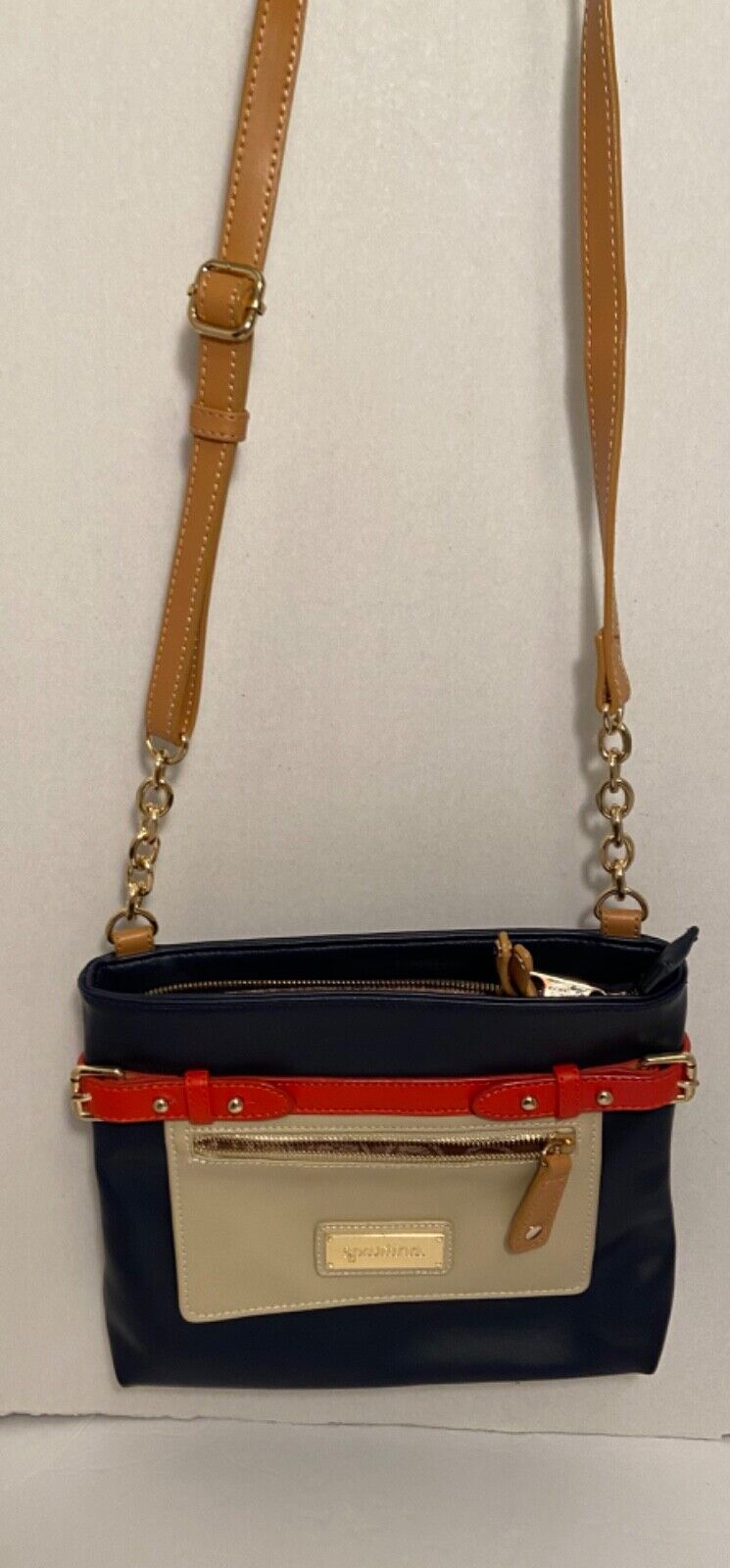 SPARTINA Beige Leather With Navy/Red Stripe Crossbody Bag