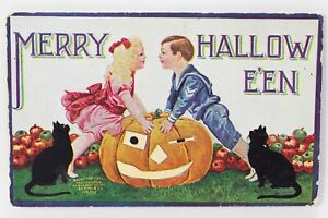 Halloween VTG Postcard International Art Boy & Girl Over Pumpkin J.O.L.