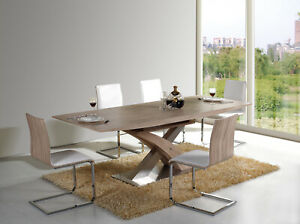 Esstisch Holz Tisch modern RAUL Tischplatte braun ausziehbar