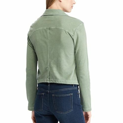 NWT MSRP $79 Sizes XS MD XL CHAPS Womens French Terry Moto Jacket SAGE GREEN