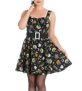 Salem-Mini-Dress-Witch-Belt-Black-Halloween-Cats-Pumpkins-Bats-Cute