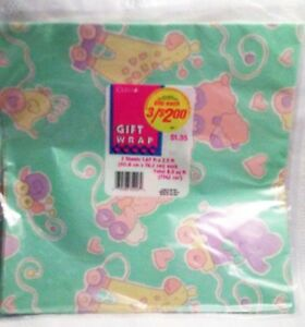 vintage baby shower wrapping paper gift wrap pull toy animals pastel